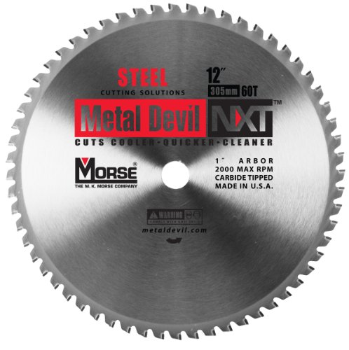 Blade Diameter - MK Morse  CSM1260NSC Metal Devil Circular NXT Saw Blade, 12-Inch Diameter, 60 Teeth, 1-Inch Arbor, for Steel Cutting