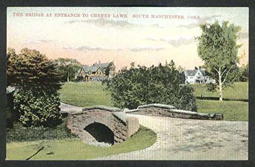 The Bridge at Entrance to Cheney Lawn South Manchester CT postcard 1910s