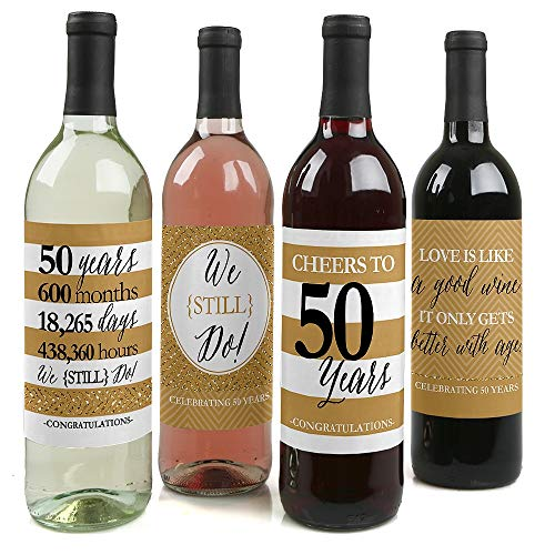 We Still Do - 50th Wedding Anniversary Decorations for Women and Men - Wine Bottle Label Stickers - Set of 4
