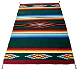 Hand Woven Serape Area Rug with Classic Mexican Saltillo Diamond Design 4ft x 6ft (Hunter Green)