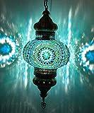 (8 Colors) DEMMEX - Wall PlugIn XL Light - Turkish Moroccan Mosaic PLUGIN Ceiling Hanging Tiffany Pendant Light Fixture Lamp with 15'feet Chain & Cord & US Plug - NO HARDWIRING (Teal Garden)