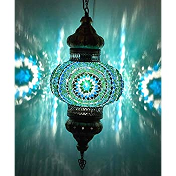 (8 Colors) DEMMEX - Wall PlugIn XL Light - Turkish Moroccan Mosaic PLUGIN Ceiling Hanging Tiffany Pendant Light Fixture Lamp with 15feet Chain & Cord & US Plug - NO HARDWIRING (Teal Garden)