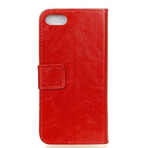 SRY-Bolsa para teléfono móvil Color sólido patrón de textura de caballo loco patrón de cuero cubierta de la caja horizontal patrón de cartera de la cartera con ranuras de tarjeta para IPhone 7 ( Color Red