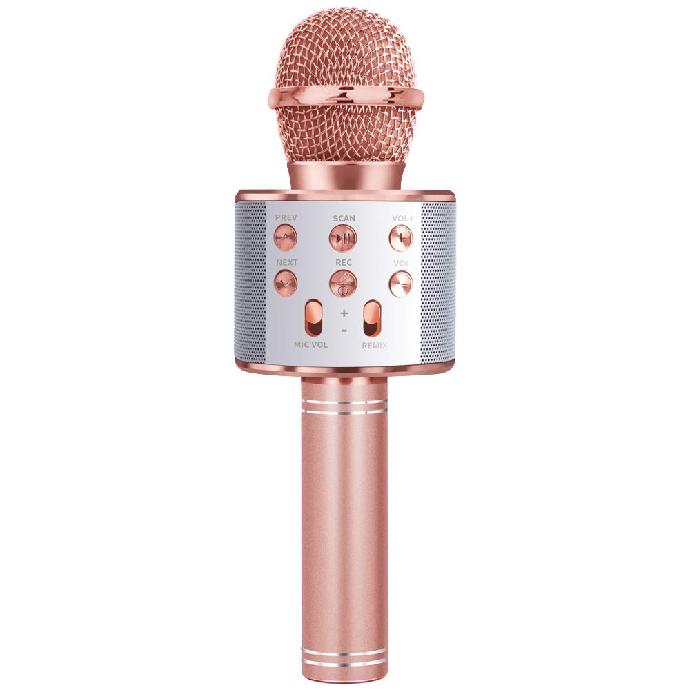 Gift for 3-11 Year Old Girls Kids, Popular Microphone Birthday Gift Age 5-11 Kid Girl Speaker Microphone Singing Toy for 5-12 Year Old Teen Children Mic Rose Gold by Shmily