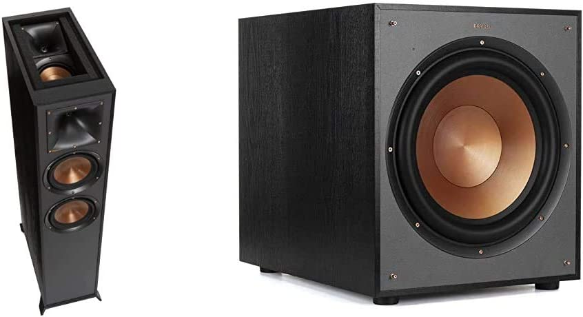 Klipsch R-625FA Powerful Detailed Floorstanding Single Home Speaker Black Bundle with Klipsch R-120SW Subwoofer,Black
