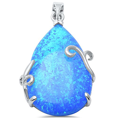 - Oxford Diamond Co Sterling Silver Lab Created Blue Opal TearDrop Pendant (Lab Created Blue Opal)