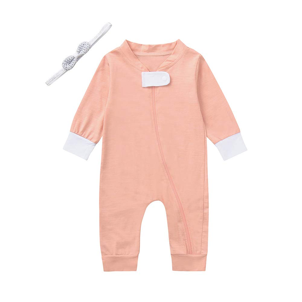 H.eternal Baby Romper Cotton Baby Boy Girl Zip up Sleep N Play Pajamas Sleeper Playsuit,Footless Cotton Long Sleeve Layette Onesies Jumpsuit Solid Outfits Pramsuit Clothes