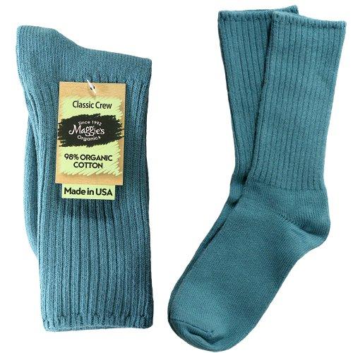 (Maggie's Organics Organic Cotton Classic Crew Sock - Denim Blue - Size 9-11)