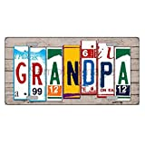 Grandpa License Plate Art Wood Pattern Novelty License Plate Tag Sign