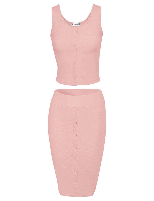 TAM Ware Women Stylish Crop Top Midi Skirt Two-Piece Bodycon Midi Dress TWCWD110-INDIPINK-US XL