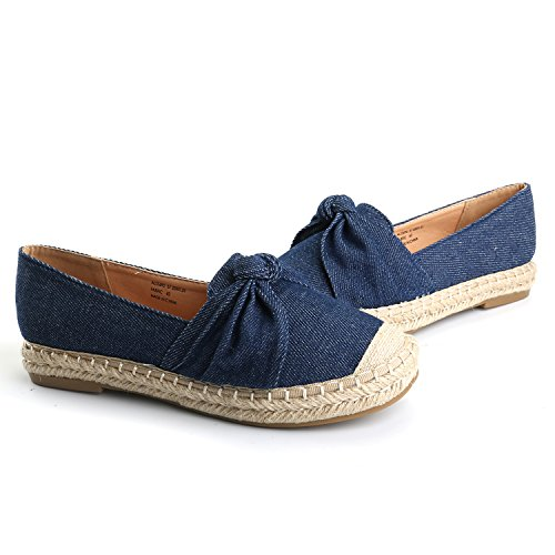 Alexis Leroy Women's Closed Toe Slip-On Bow Espadrille Loafer Flats Dark Blue40 M EU/9-9.5 B(M) US by Alexis Leroy (Image #6)