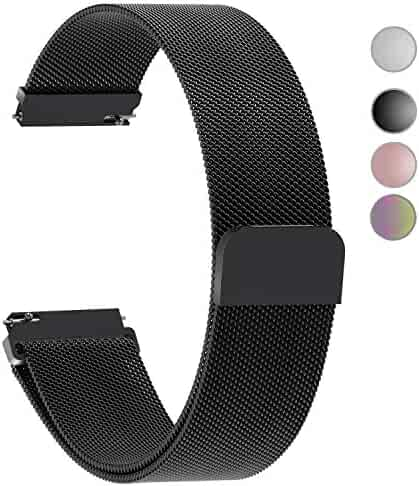 4 Colors for Quick Release Watch Strap, Fullmosa Milanese Magnetic Closure Stainless Steel Watch Band Replacement Strap for 20mm Black