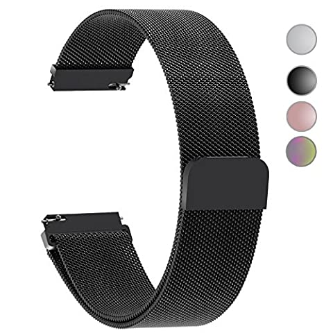 4 Colors for Quick Release Milanese Loop, Fullmosa Milanese Magnetic Closure Stainless Steel Watch Band Replacement Strap for 22mm (Pebble Steel Black Watchband)