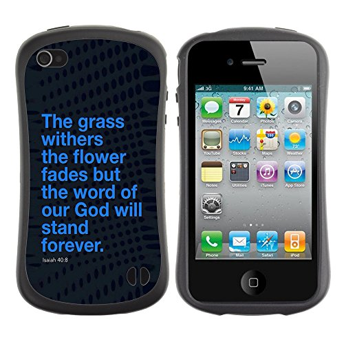 DREAMCASE Citation de Bible Silicone et Rigide Coque Protection Image Etui solide Housse T¨¦l¨¦phone Case Pour APPLE IPHONE 4 / 4S - ISAIAH 40:8 WORD OF GOD WILL STAND FOREVER