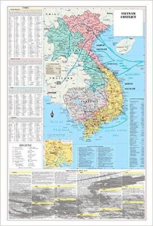 Cool búho Mapas Vietnam guerra conflicto pared mapa Póster Militar – Papel plegado (24