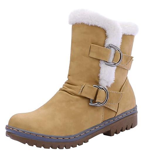 ❤ Botas de Nieve Mujer de Felpa, Damas de Las Mujeres clásicas Hebilla Zapatos Calientes de Piel Botas de Nieve Corto Bootie Absolute: Amazon.es: Ropa y ...