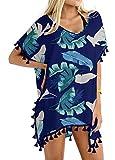 Yincro Women's Swimsuit Bathing Suit Cover Ups for Swimwear (FL Blue, A)