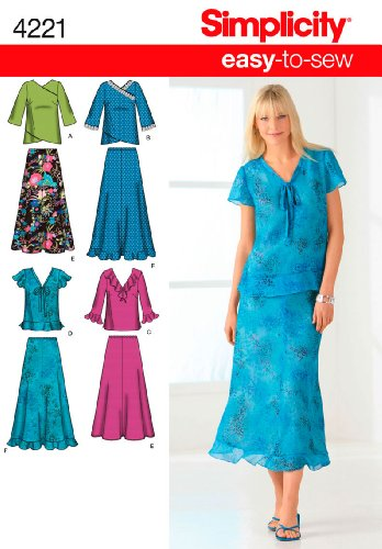 Simplicity Easy-to-Sew Pattern 4221 Misses Skirt in 2 Lengths and Pullover Tops Sizes 10-12-14-16-18