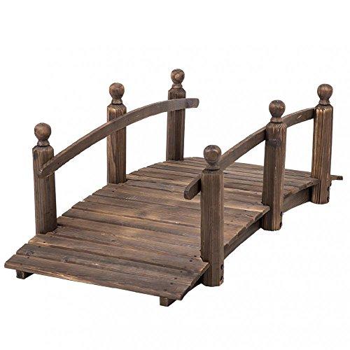 Wooden Arch Bridge - 5' Wooden Bridge Stained Finish Decorative Solid Wood Garden Pond Arch BestMassage