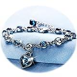 Love Heart Ocean Blue Crystal Bracelet for Women and Teens Sapphire Birthstone Charm Eternal Love Bangle