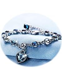 Love Heart Ocean Blue Crystal Bracelet for Women Teens...