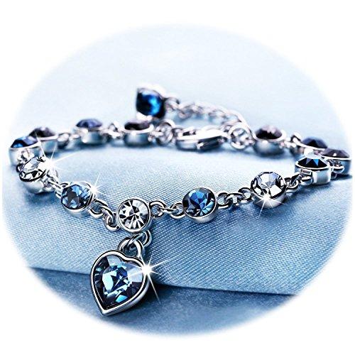 Love+Heart+Ocean+Blue+Crystal+Bracelet+for+Women+and+Teens+Sapphire+Birthstone+Charm+Eternal+Love+Bangle+%28Blue+crystal+birthstone+bracelet%29