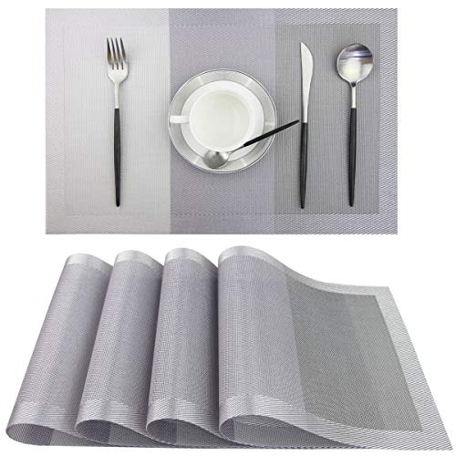 Pigchcy Placemats,18x12 Inches Plastic Placemats Washable Easy to Clean Table mats Woven Vinyl Placemats for Dining Table Set of 4 (Light Grey)