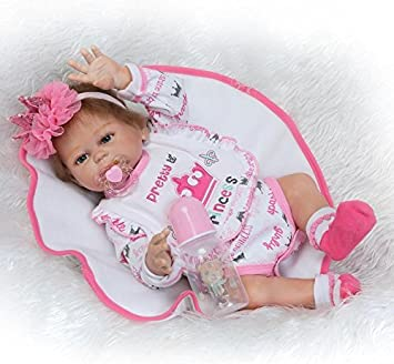 Pinky Realistic Looking 50cm 20Inch Vinyl Silicone Full Body Newborn Girl Doll Lifelike Reborn Baby Dolls Toddler Magnetic Mouth Dummy Birthday and Xmas Gift