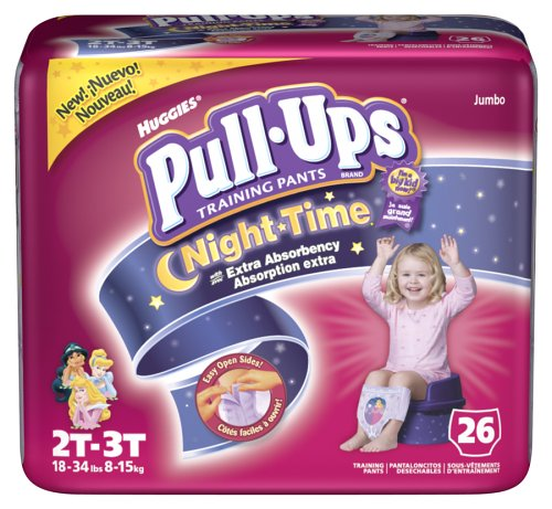 Huggies Pull-Ups Training Pants, Nighttime, Girls, 2T-3T, 26-Count (Pack of 4)