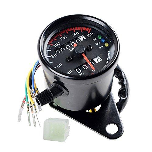 Universal Motorcycle 12V Dual Odometer Speedometer Gauge LED Backlight Turn Signal Lamp Kit for ATV Honda Yamaha Suzuki Harley Kawasaki Cruisers Harley (Installer Pinion Seal)