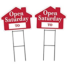 """OPEN SATURDAY Sign Kit with Area for Time - 2 Pack - House Shape Corrugated Sign INCLUDES 2 Signs and 2 - 24"""" Sign Stakes"""