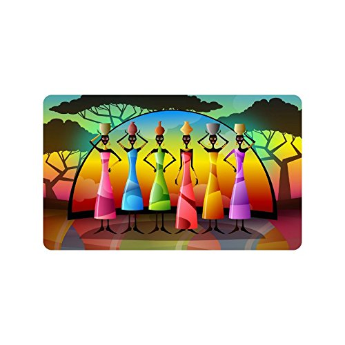 African Women Doormat Entrance Mat Floor Mat Rug Indoor/Outdoor/Front Door/Bathroom Mats Rubber Non Slip Size 30 x 18 inches