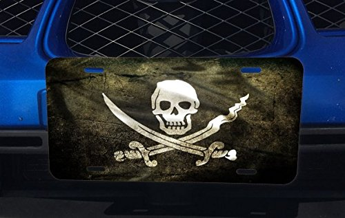Pirate Flag Aluminum License Plate for Car Truck Vehicles