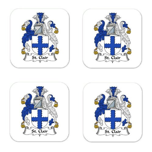 St Clair Family Crest Square Coasters Coat of Arms Coasters - Set of - Square St Clair
