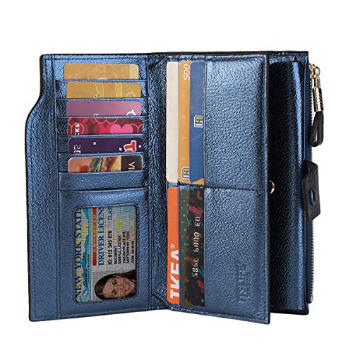 Itslife Women's RFID Blocking Large Capacity Luxury Wax Genuine Leather Clutch Wallet Card Holder Organizer Ladies Purse (4-Pebbled Blue Gold) by ITSLIFE (Image #1)