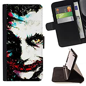 For HTC One M8 Greepy Clown Monster Villain White Face Beautiful Print Wallet Leather Case Cover With Credit Card Slots And Stand Function