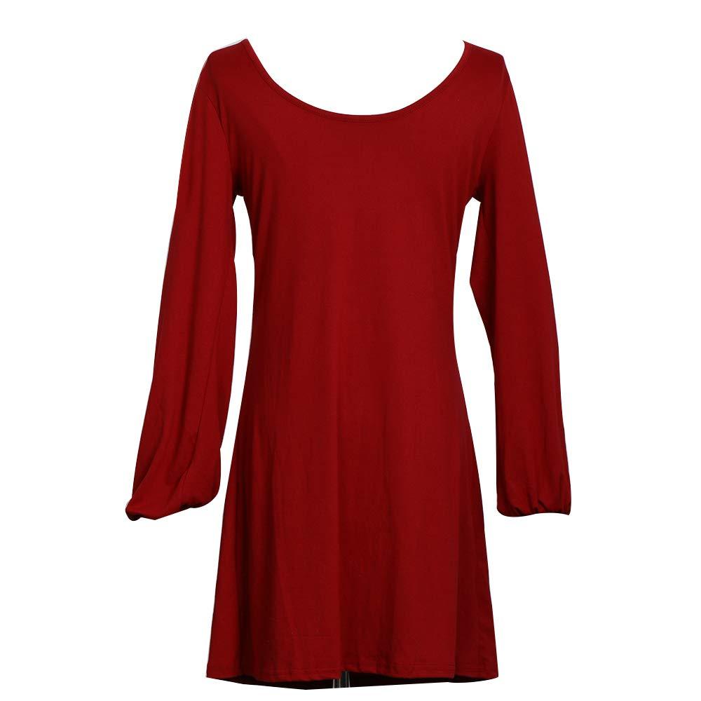 BUOYDM Vestito Lungo da Donna Casual Mini Vestito a Maniche Lunghe Colore Puro T-Shirt Abiti
