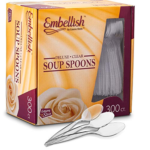 Embellish Deluxe Heavyweight Clear Plastic Disposable Soup Spoons. 300 Pack -