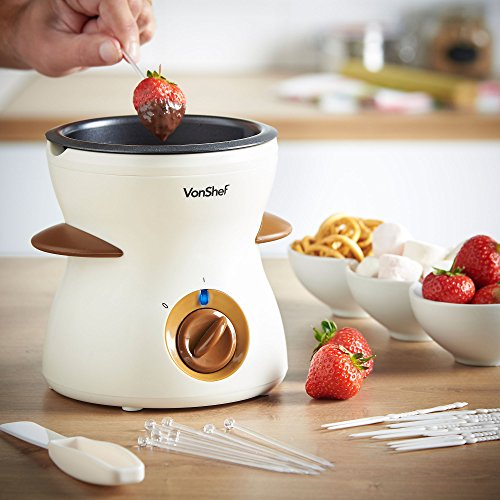 VonShef 500ml / 17oz Electric Chocolate Fondue Melting Pot, Warmer, Chocolatier - Includes FREE Spatula, 10 Skewers & 10 Forks by VonShef (Image #1)