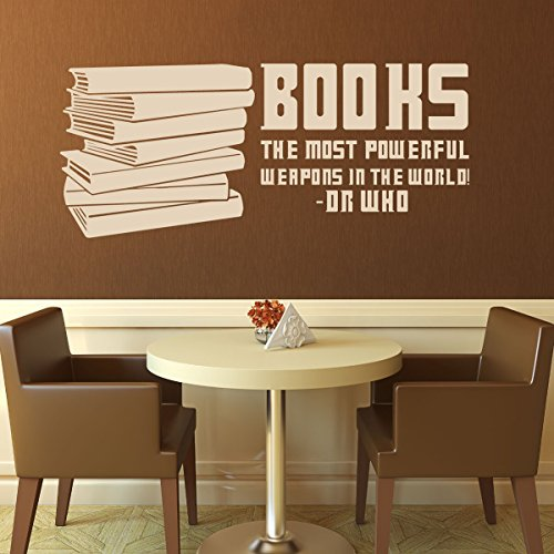 Book Quotes Wall Decals - Books, The Most Powerful Weapons in the World - Doctor Who Quote, Famous Quotes Wall Decals for the Home, Office, Library, or School (Decorate Office Space For Halloween)
