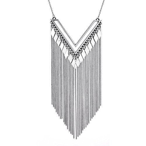 Statement Chunky Choker Vintage Tassel Chain Necklace Pendant for Women Girls Lady (Guide Event Resource)