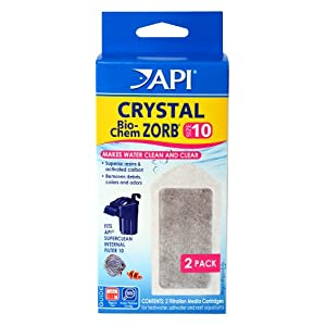 API CRYSTAL BIO-CHEM ZORB SIZE 10 Aquarium Filtration Media Cartridges for API SUPERCLEAN 10 2-Count Box 118