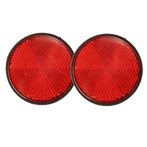 Utini 2pcs 2inch Round Reflectors Red Universal for Motorcycles ATV Dirt Bikes