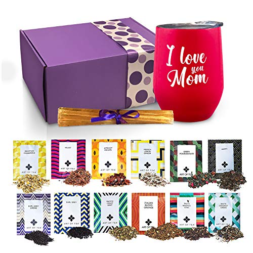 Mom Gifts - Tea Set Gifts For Mom Includes I Love You Mom Insulated Tea Cup 12 Organic Handcrafted Teas & All Natural Honey | Mom Birthday Gifts or Mothers ()