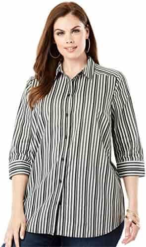 5cdd67055ac Roamans Women s Plus Size Three-Quarter Sleeve Kate Shirt