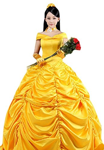 Cosplayhome Women's Beauty and the Beast Belle Princess Cosplay Dress Gown (S) (Belle Costumes Adult)