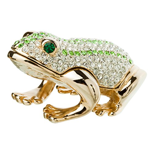 Jeweled Enamel Frog Box (Alexander Kalifano Jeweled Gold Tone Frog, Made with Swarovski Elements Crystals, Green)