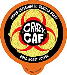 Crazy Cups, Crazy Caf Extra Caffeineted Coffee, Single Serve Cups for Keurig K Cup Brewer, 22 Count by Crazy Caf