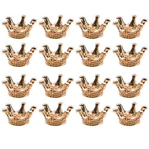 JETEHO Pack of 100 Mini Lovely Alloy Crown Charms Pendants DIY Vintage Charms Findings Pendant for Crafting,Gold -
