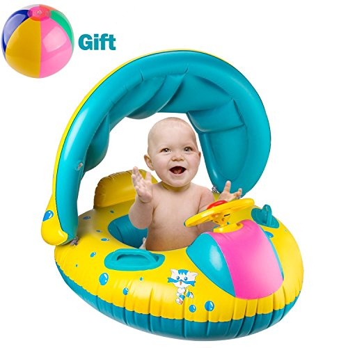 BeYumi Inflatable Baby Pool Float Swimming Ring with Sun Canopy for the Age...